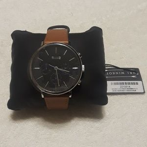 Uri Minkoff Mens Griffith Leather Strap Watch